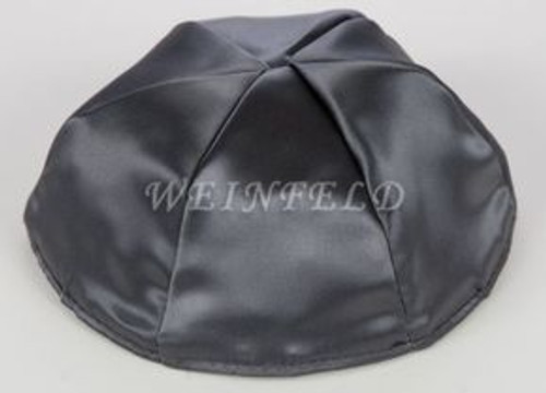 Satin Yarmulkes 6 Panels - Lined - Satin Charcoal Grey With Brown Rim. Best Quality Bridal Satin