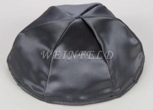 Satin Yarmulkes 6 Panels - Lined - Satin Charcoal Grey With Light Grey Rim. Best Quality Bridal Satin