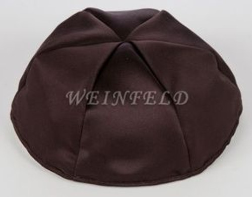 Satin Yarmulkes 6 Panels - Lined - Satin Brown With Light Pink Rim. Best Quality Bridal Satin