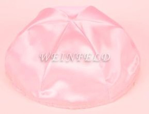 Satin Yarmulkes 6 Panels - Lined - Satin Light Pink With Plaid - Blue/White Rim. Best Quality Bridal Satin