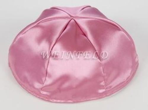 Satin Yarmulkes 6 Panels - Lined - Satin Mauve Pink With Plaid - Blue/White Rim. Best Quality Bridal Satin
