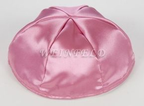 Satin Yarmulkes 6 Panels - Lined - Satin Mauve Pink With Plaid - Pink/White Rim. Best Quality Bridal Satin