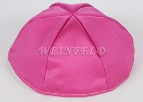 Satin Yarmulkes 6 Panels - Lined - Satin Fuchsia With Light Pink Rim. Best Quality Bridal Satin