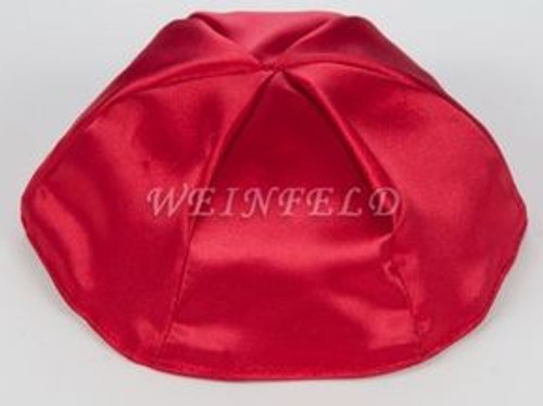Satin Yarmulkes 6 Panels - Lined - Satin Red With Light Pink Rim. Best Quality Bridal Satin