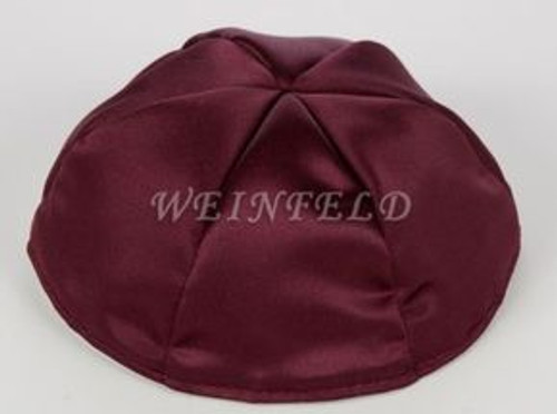 Satin Yarmulkes 6 Panels - Lined - Satin Burgundy With Purple Rim. Best Quality Bridal Satin