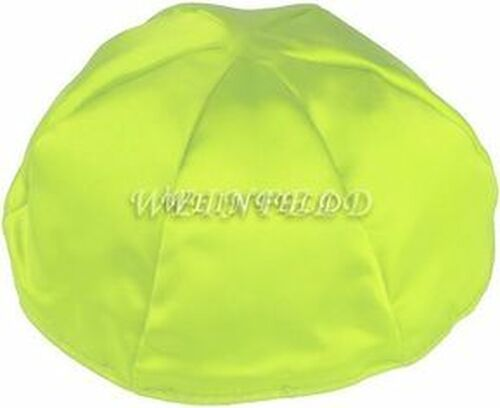Satin Yarmulkes 6 Panels - Lined - Satin Lime Green With Red Rim. Best Quality Bridal Satin