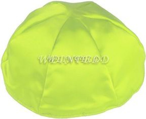 Satin Yarmulkes 6 Panels - Lined - Satin Lime Green With Plaid - Blue/White Rim. Best Quality Bridal Satin