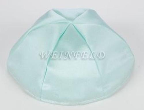 Satin Yarmulkes 6 Panels - Lined - Satin Mint Light Green With Light Grey Rim. Best Quality Bridal Satin
