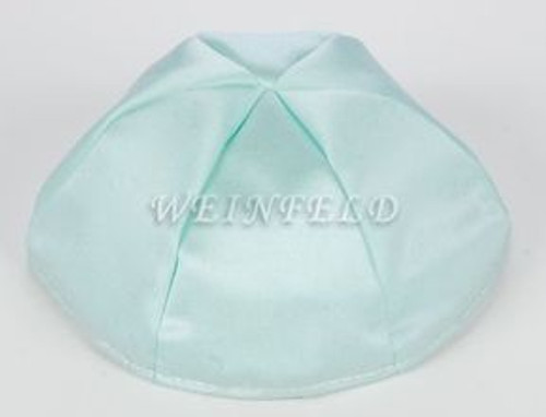 Satin Yarmulkes 6 Panels - Lined - Satin Mint Light Green With Light Blue Rim. Best Quality Bridal Satin