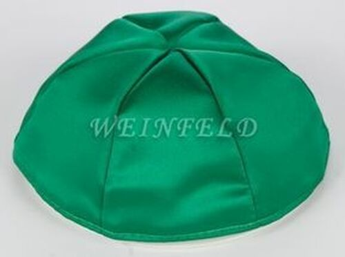 Satin Yarmulkes 6 Panels - Lined - Satin Kelly Green With Plaid - Pink/White Rim. Best Quality Bridal Satin