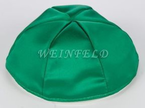 Satin Yarmulkes 6 Panels - Lined - Satin Kelly Green With Turquise Rim. Best Quality Bridal Satin