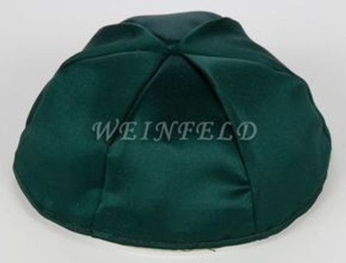 Satin Yarmulkes 6 Panels - Lined - Satin Dark Green With Brown Rim. Best Quality Bridal Satin