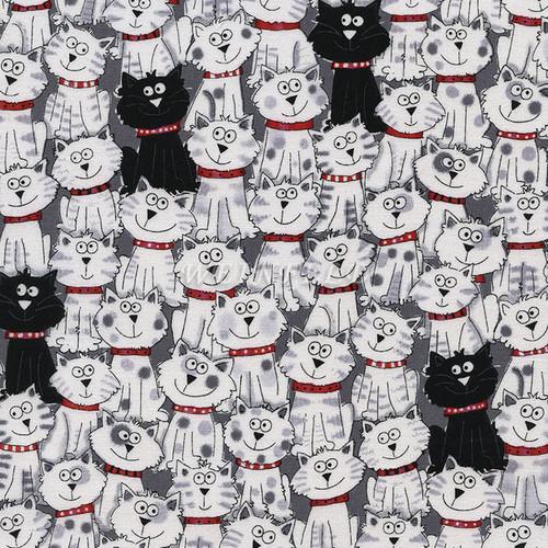 Cotton Print Yarmulkes Black & White Cats
