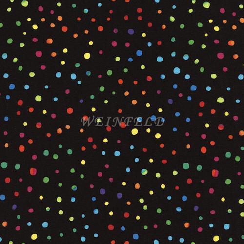 Cotton Print Yarmulkes Colorful Dots On Black