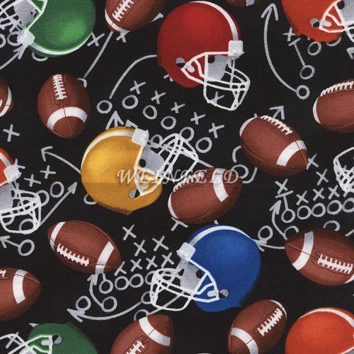 Cotton Print Yarmulkes Football Helmets - Black