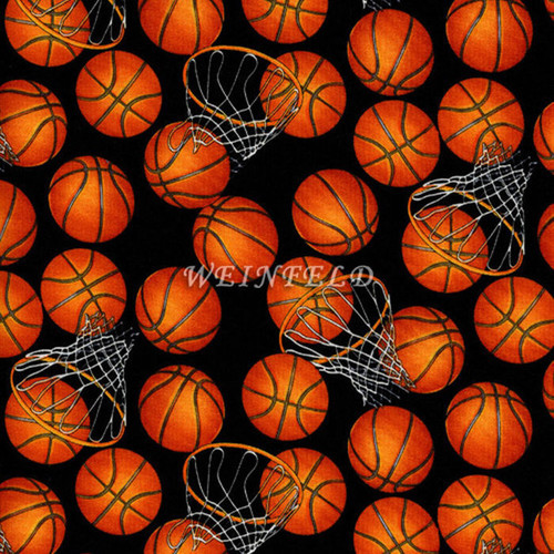 Cotton Print Yarmulkes B-Ball - Black