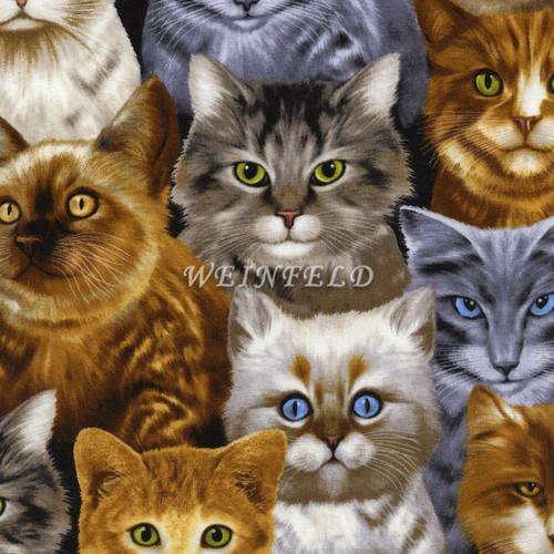 Cotton Print Yarmulkes Cats - Natural