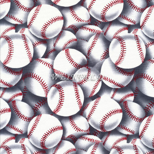 Cotton Print Yarmulkes Baseballs - White