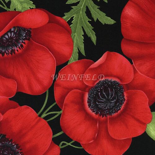 Cotton Print Yarmulkes Poppies