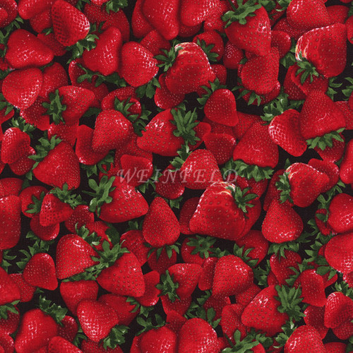 Cotton Print Yarmulkes Fruit - Strawberry