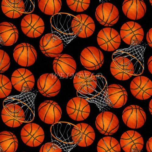 Cotton Print Yarmulkes Basket Ball. Sports - Black