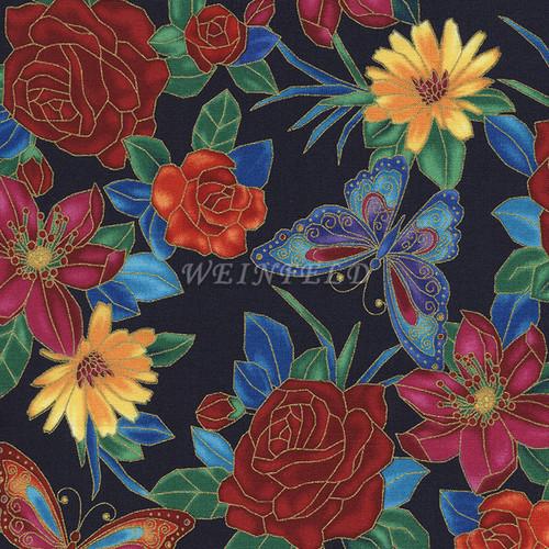 Cotton Print Yarmulkes - Flowers Navy
