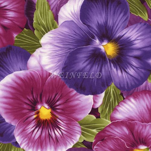 Cotton Print Yarmulkes - Flowers Purple