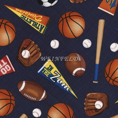 Cotton Print Yarmulkes Sports - Navy