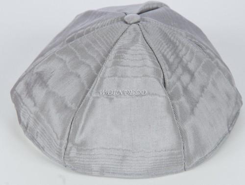 Moire Six Panel Yarmulkes Medium Silver Grey