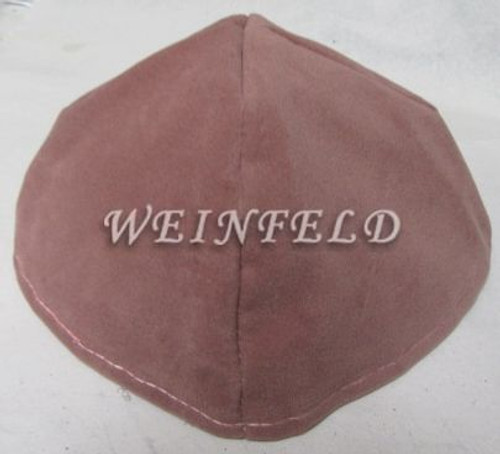 Velour Velvet Yarmulkes - 4 Panels - Lined - Big Style - Without Rim (Band) - Pink