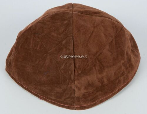 Velour Velvet Yarmulkes - 4 Panels - Lined - Big Style - Without Rim (Band) - Coffee