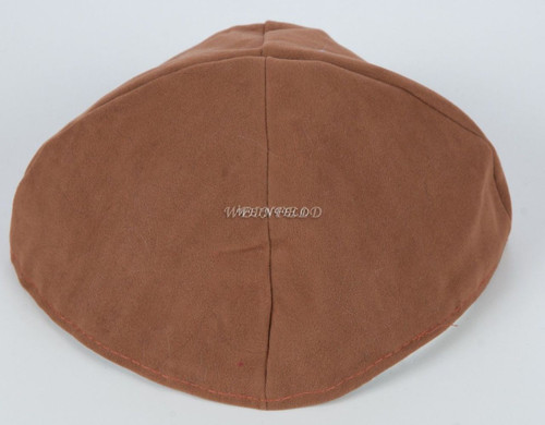 Velour Velvet Yarmulkes - 4 Panels - Lined - Big Style - Without Rim (Band) - Dark Beige