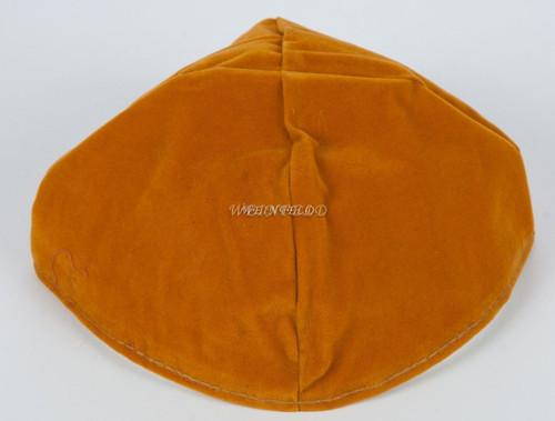 Velour Velvet Yarmulkes - 4 Panels - Lined - Big Style - Without Rim (Band) - Gold