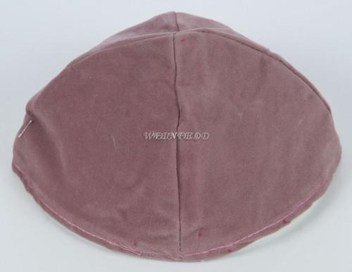 Velour Velvet Yarmulkes - 4 Panels - Lined - Big Style - Without Rim (Band) - Dove