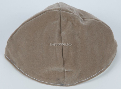 Velour Velvet Yarmulkes - 4 Panels - Lined - Big Style - Without Rim (Band) - Medium Grey