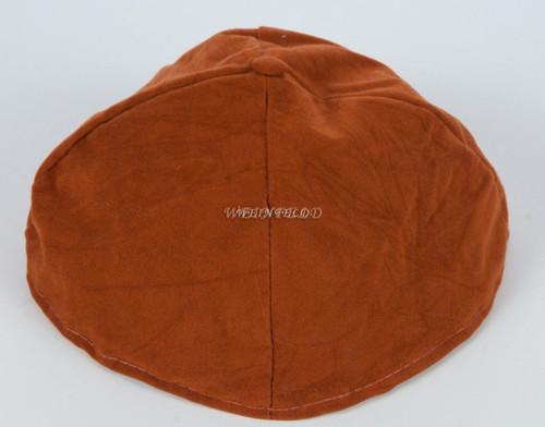 Velour Velvet Yarmulkes - 4 Panels - Lined - Big Style - Without Rim (Band) - Rust