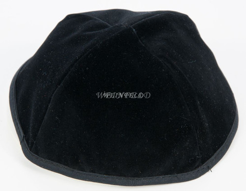 Velour Velvet Yarmulkes - 4 Panels - Lined - Medium Style - With Rim (Band) - Black
