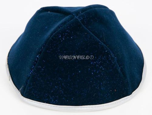 Velour Velvet Yarmulkes - 4 Panels - Lined - Medium Style - With Rim (Band) - Navy Sparkles