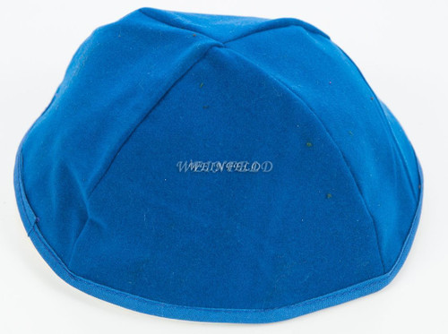 Velour Velvet Yarmulkes - 4 Panels - Lined - Medium Style - With Rim (Band) - Royal Blue