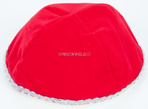 Velour Velvet Yarmulkes - 4 Panels - Lined - Medium Style - With Trim - Red