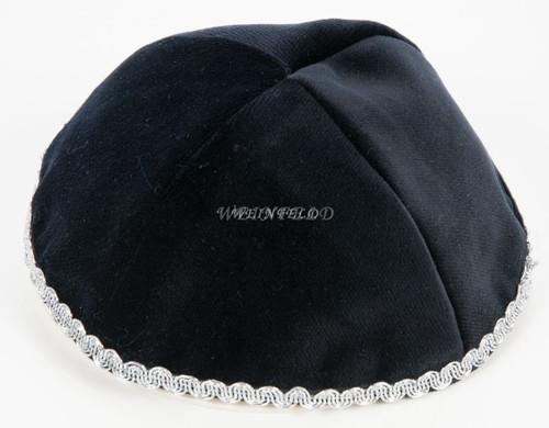 Real Velvet Yarmulkes - 4 Panels - Lined - Medium Style - With Trim - Black