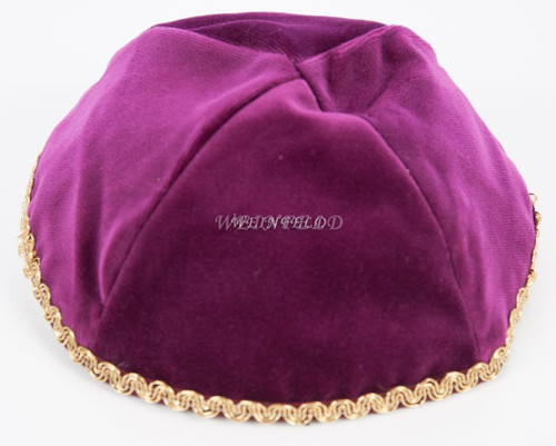 Real Velvet Yarmulkes - 4 Panels - Lined - Medium Style - With Trim - Burgundy