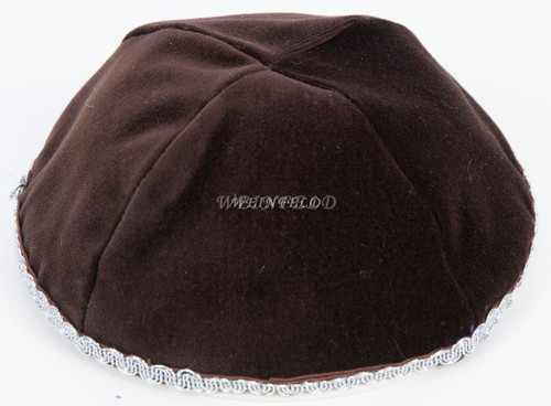 Real Velvet Yarmulkes - 4 Panels - Lined - Medium Style - With Trim - Chocolate Brown
