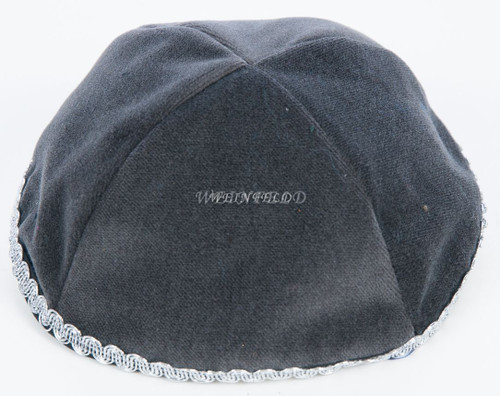 Real Velvet Yarmulkes - 4 Panels - Lined - Medium Style - With Trim - Dark Grey