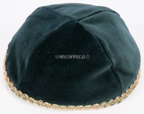 Real Velvet Yarmulkes - 4 Panels - Lined - Medium Style - With Trim - Green