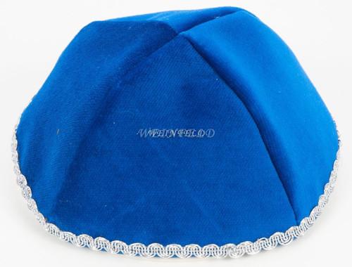 Real Velvet Yarmulkes - 4 Panels - Lined - Medium Style - With Trim - Royal Blue