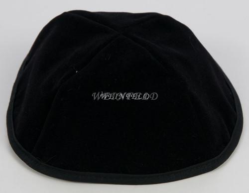 Real Velvet Yarmulkes - 4 Panels - Lined - Medium Style - With Rim (Band) - Black