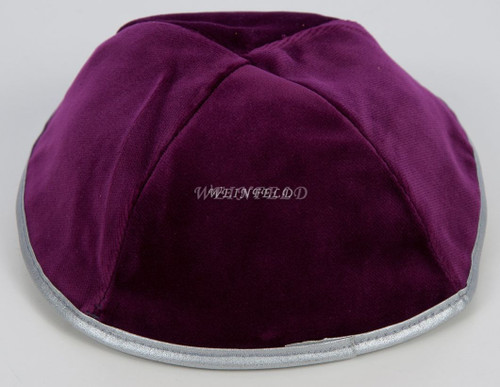 Real Velvet Yarmulkes - 4 Panels - Lined - Medium Style - With Rim (Band) - Burgundy