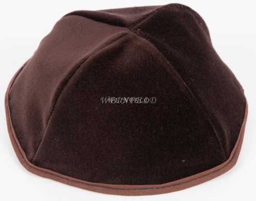 Real Velvet Yarmulkes - 4 Panels - Lined - Medium Style - With Rim (Band) - Chocolate Brown