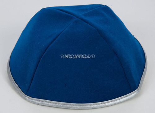 Real Velvet Yarmulkes - 4 Panels - Lined - Medium Style - With Rim (Band) - Dark Royal